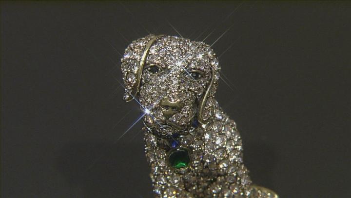 Multicolor Crystal Antiqued Gold Tone Labrador Retriever Brooch