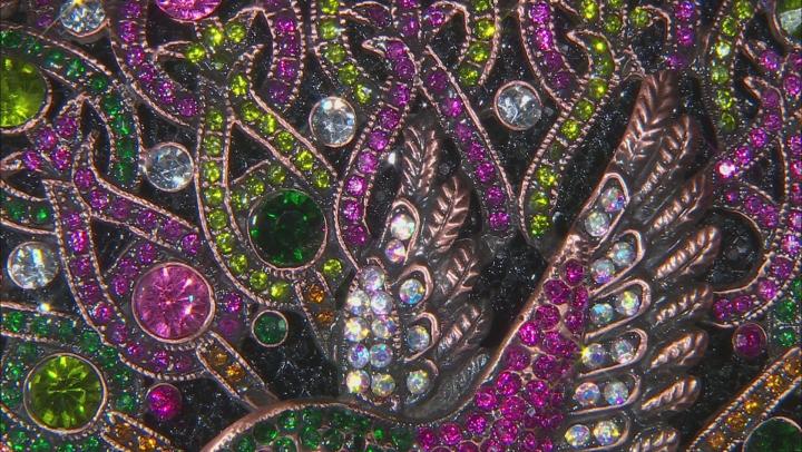 Multicolor Crystal Rose Tone Hummingbird Clutch