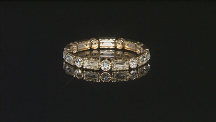 White Crystal Three-Tone Stretch Bracelet Set Of 6