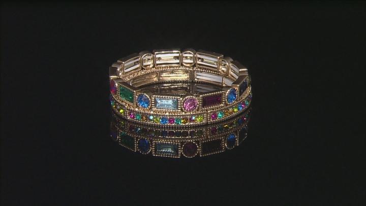 Multicolor Crystal Gold Tone Stretch Bracelet Set Of 6