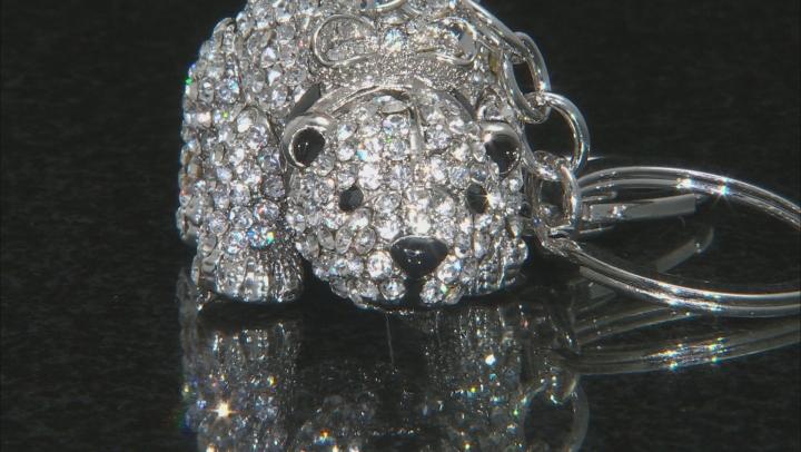 Multicolor Crystal Black Enamel Silver Tone Polar Bear Keychain