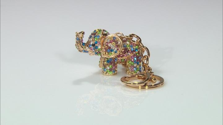 Multicolor Crystal Gold Tone Elephant Keychain