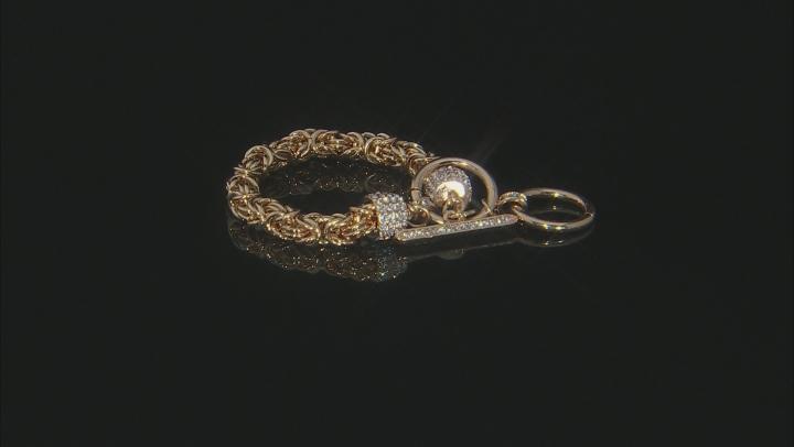 White Crystal Gold Tone Byzantine Link Bracelet