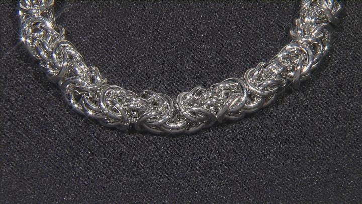 White Crystal Silver Tone Byzantine Link Bracelet