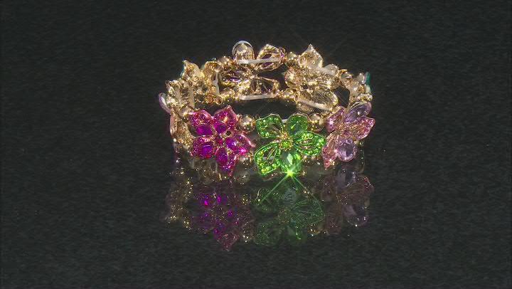 Multicolor Crystal Gold Tone Floral Statement Bracelet