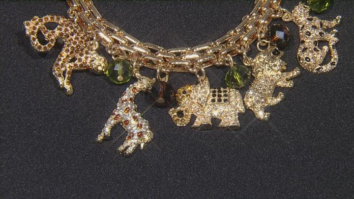 Multicolor Crystal Gold Tone Safari Charm Bracelet