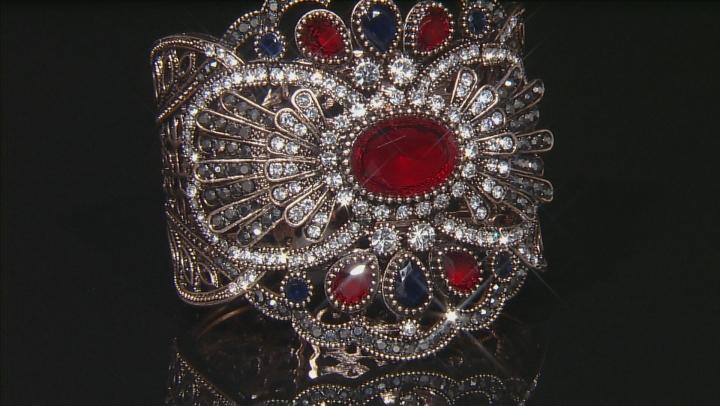 Multicolor Crystal Antiqued Rose Tone Cuff Bracelet