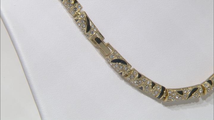White And Green Crystal Black Enamel Gold Tone Jaguar Necklace