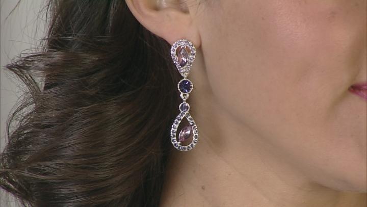 Multicolor Crystal Silver Tone Dangle Earrings