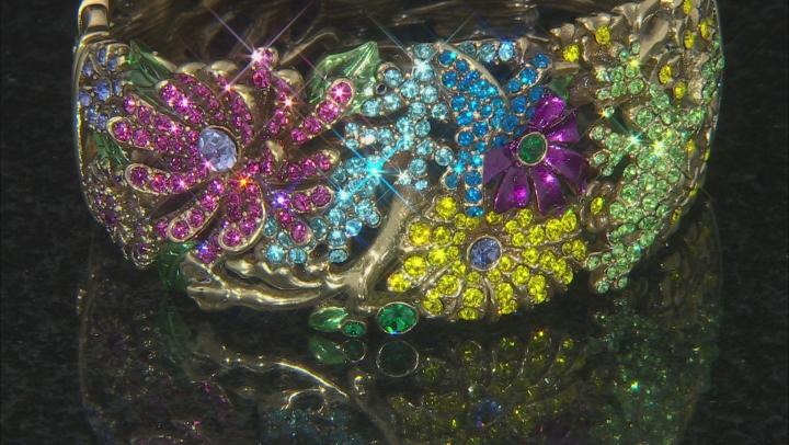 Multicolor Crystal Antiqued Gold Tone Floral Bracelet