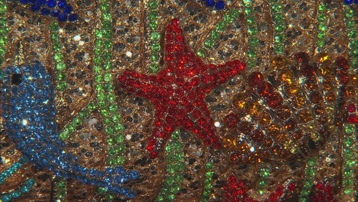 Multicolor Crystal Gold Tone Sea Life Clutch