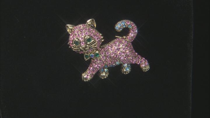 Multicolor Swarovski Elements ™ Antiqued Gold Tone Gunmetal Tone Cat Brooch Set