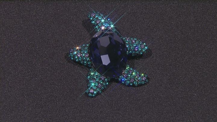 Multicolor Swarovski Elements ™ Gunmetal Tone Starfish Brooch