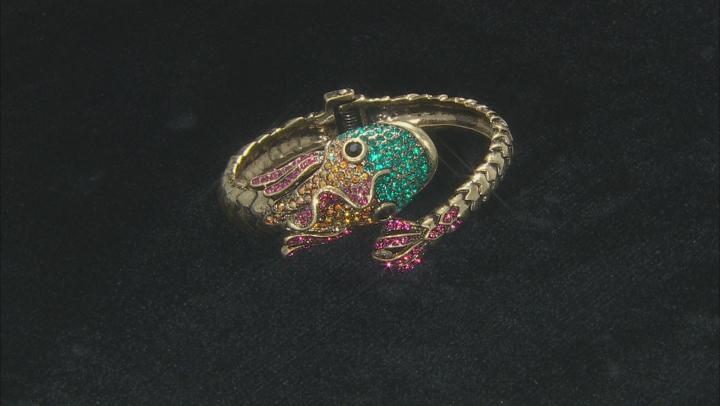 Multicolor Crystal Antiqued Gold Tone Fish Cuff Bracelet