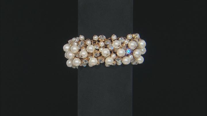 White Crystal White Pearl Simulant Gold Tone Statement Bracelet