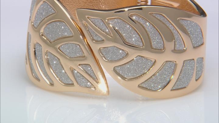 Silver Shimmer Gold Tone Leaf Cuff Bracelet