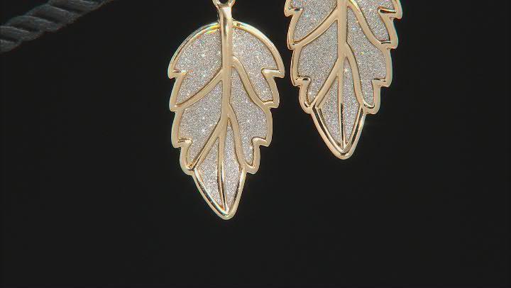 Silver Shimmer Gold Tone Leaf Dangle Earrings