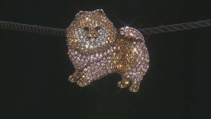Multi Color Crystal Antiqued Gold Tone Pomeranian Brooch