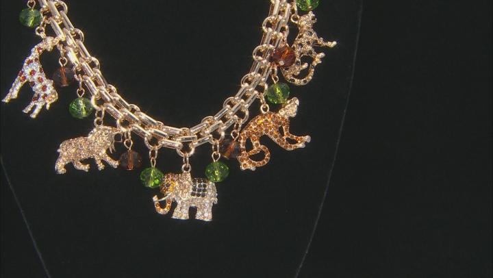 Multicolor Crystal Gold Tone Safari Charm Necklace