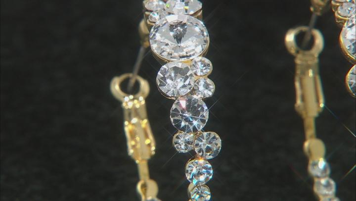 White Crystal Gold Tone Hoop Earrings