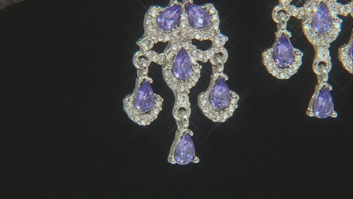 Silver Tone Tanzanite Color Crystal Dangle Earrings