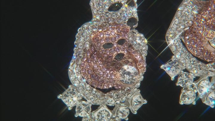 Multi-color Crystal Two-Tone Mother Baby Polar Bear Dangle Earrings