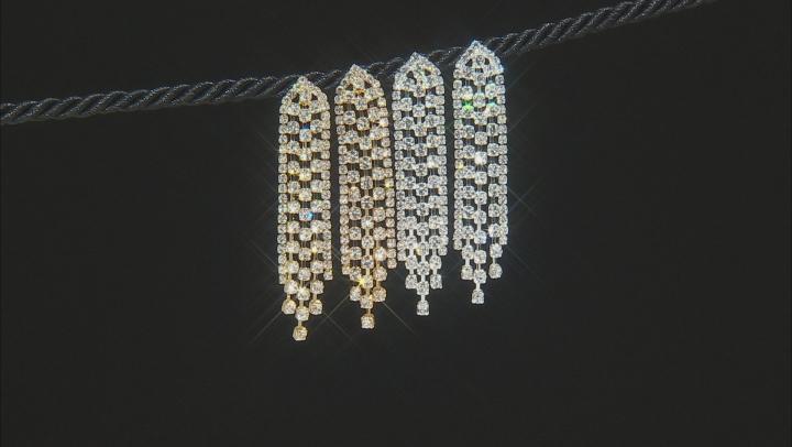 Muli-color Crystal Tri-Color Dangle Earrings Set Of 3