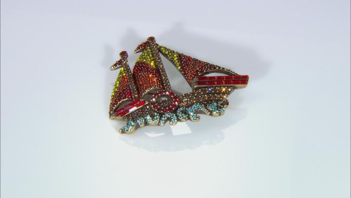 Multicolor Crystal Antiqued Gold Tone Sailboat Brooch