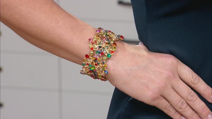 Multicolor Crystal Gold Tone Floral Stretch Bracelet
