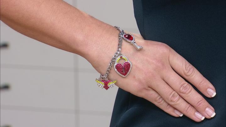 Multicolor Crystal Silver Tone Heart Charm Bracelet