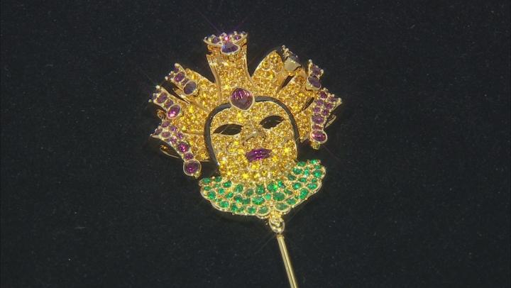 Multicolor Crystal Gold Tone Mardi Gras Brooch