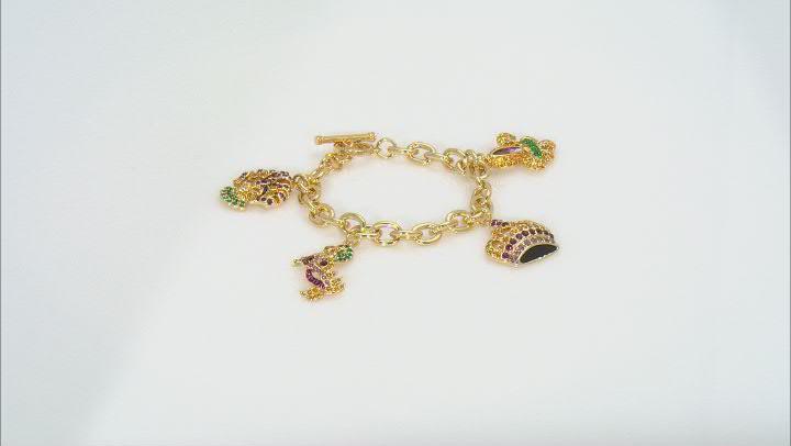 Multicolor Crystal Gold Tone Mardi Gras Charm Bracelet