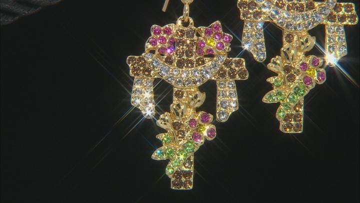 Multicolor Crystal Gold Tone Easter Cross Dangle Earrings