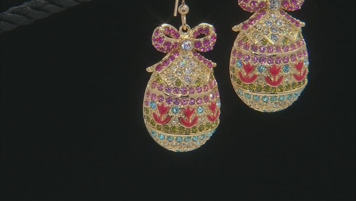 Multicolor Crystal Gold Tone Dangle Easter Egg Earrings