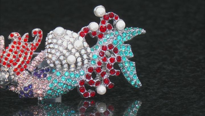 Multicolor Crystal Silver Tone Mermaid Brooch