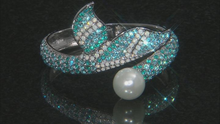 Multicolor Crystal Silver Tone Mermaid Tail Cuff