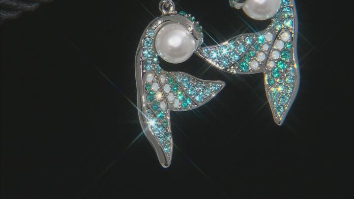 Multicolor Crystal  Silver Tone Mermaid Tail Earrings