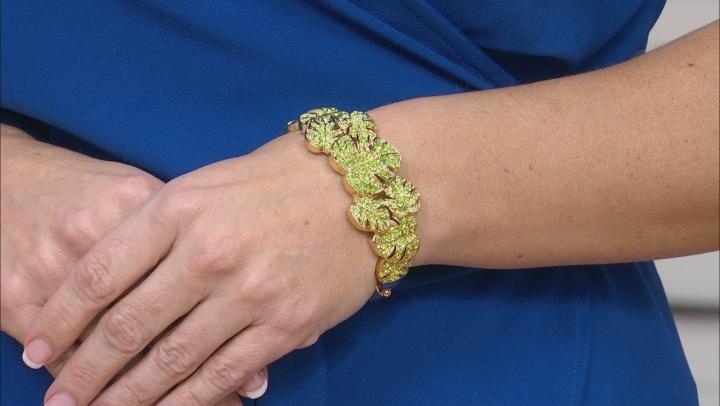 Green Crystal Gold Tone Leaf Bracelet