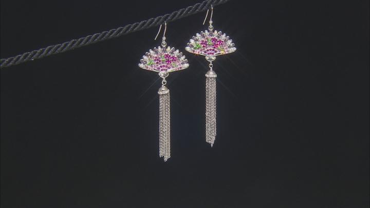 Multicolor Crystal Silver Tone Fan Tassel Earrings