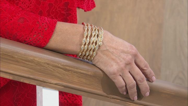 White Crystal Gold Tone Coil Adjustable Bracelet