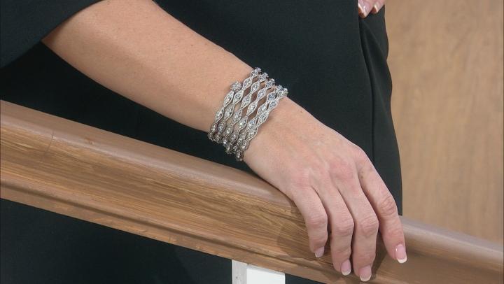 White Crystal Silver Tone Coil Adjustable Bracelet