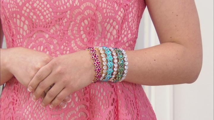 Multicolor Crystal Tri-color Flower Stretch Bracelet Set Of 6