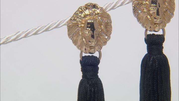 White Crystal Gold Tone Lion Face Tassel Earrings