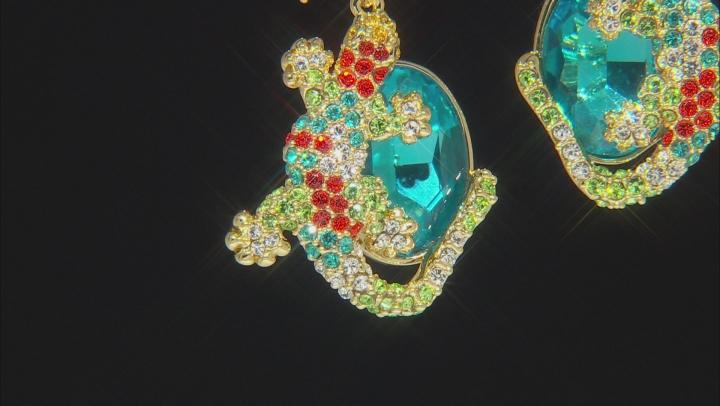 Shiny Gold Tone Multicolor Crystal Lizard Earrings