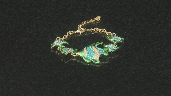 Multicolor Crystal Gold Tone Angelfish Bracelet