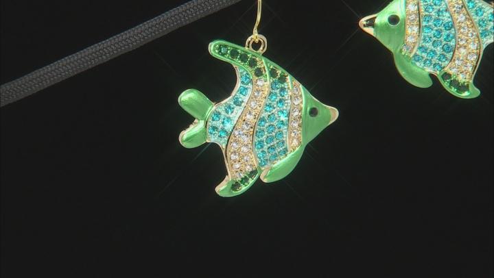 Multicolor Crystal Gold Tone Angelfish Dangle Earrings
