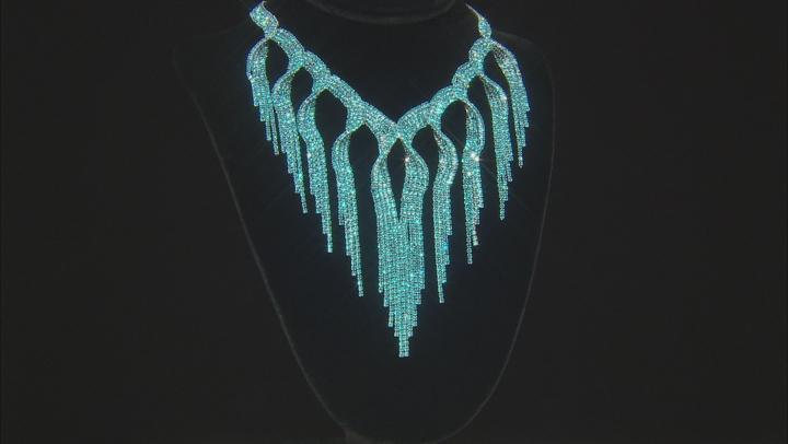 Blue Crystal Silver Tone Fringe Statement Necklace