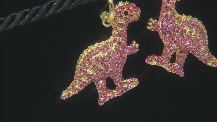 Pink Crystal Gold Tone Dinosaur Dangle Earrings