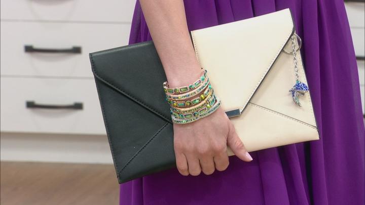 Iridescent Green Crystal Tri Color Stretch Bracelet Set Of 6