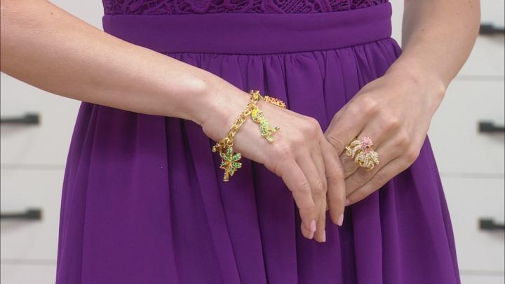 Multicolor Crystal Gold Tone Parrot, Pineapple, Palm Tree Charm Bracelet